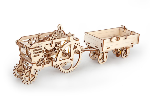 3D пазлы UGEARS Прицеп к трактору